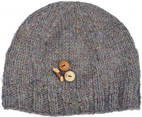Fruit button beanie - pure wool - fleece lined - pale heather