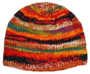 Children's Half fleece lined - electric beanie - multi orange