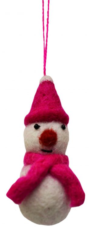 Felt - Christmas Decoration - Snowman - Pink