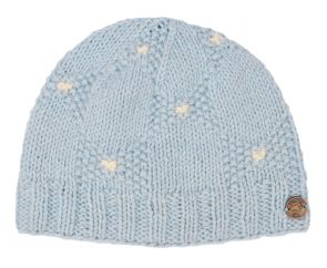 Moss stitch bow beanie - pure wool - fleece lined - pale blue
