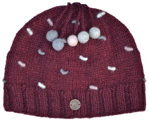 Half fleece lined - pure wool - french knot beanie - Wine
