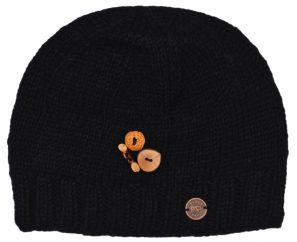 Pure wool - half fleece lined - fruit button beanie - Black