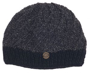 Pure wool - half fleece lined - border beanie - Charcoal/Black