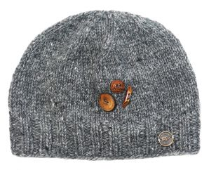 Pure wool - half fleece lined - fruit button beanie - Mid grey