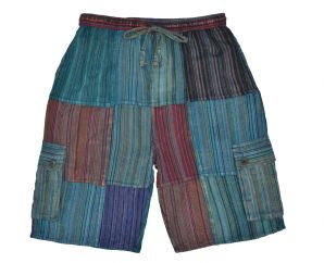 striped cotton shorts - blue multi coloured