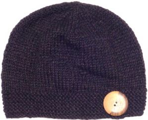 Pure wool - fine wool mix - big button cloche - Chocolate