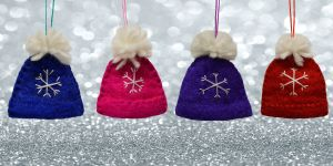 Felt - Christmas Decoration - Bobble Hat - Pink