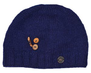 Pure wool - half fleece lined - fruit button beanie - Blue