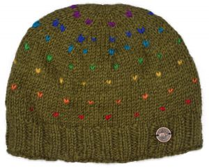 Half fleece lined - rainbow tick beanie - olive green