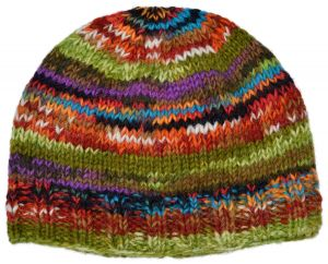 Children's Half fleece lined - electric beanie - multi green