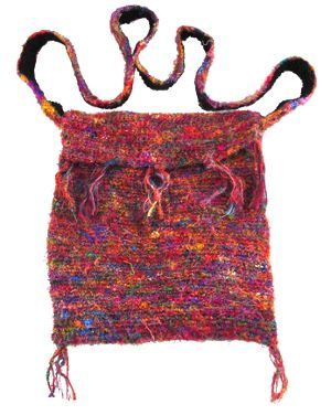 Hand crocheted - recycled silk - shoulder bag