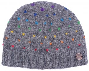 Half fleece lined - rainbow tick beanie - Brown
