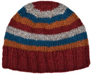 Children's Half fleece lined - stripe - beanie - brick