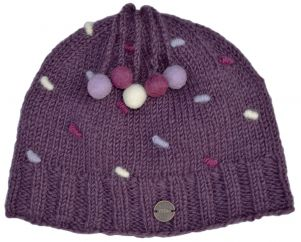 Half fleece lined - pure wool - french knot beanie - Grape