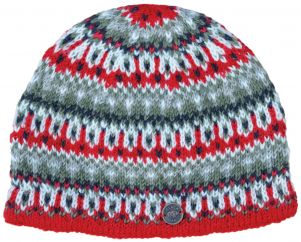 hand knit - multi-patterned beanie - red