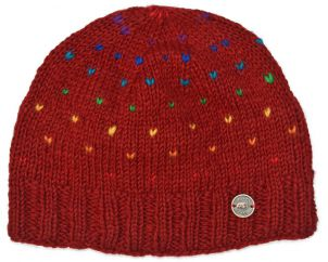 Rainbow tick beanie - deep red