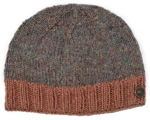Pale Heather mix - contrast edge beanie - Blush border