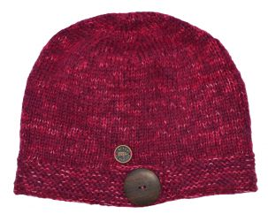 Pure wool - fine wool mix - big button cloche - pink