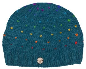 Half fleece lined - rainbow tick beanie - pacific