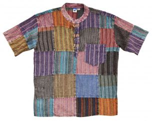 patchwork multicoloured shirt