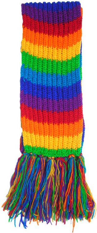 Long hand knit - striped Scarf - rainbow