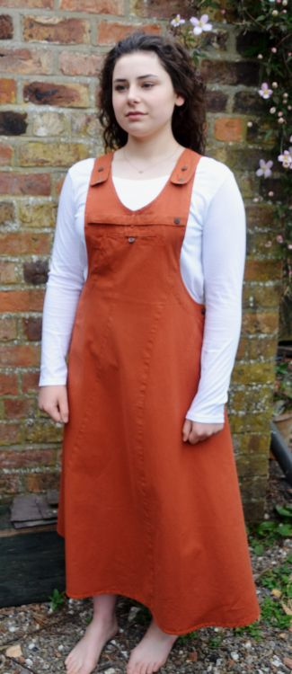 Fine cotton - pinafore dress - terracotta