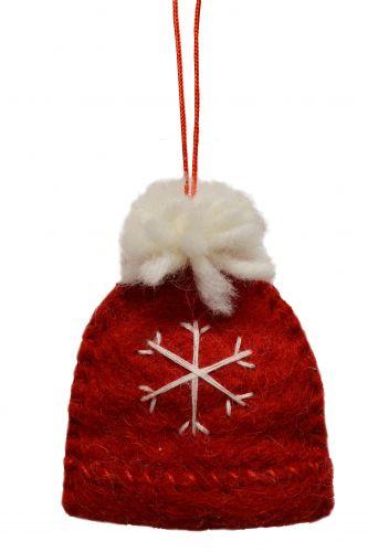 Felt - Christmas Decoration - Bobble Hat - Red