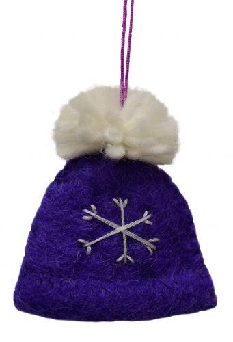 Felt - Christmas Decoration - Bobble Hat - Purple