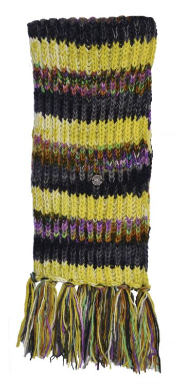 Long hand knit - electric stripe scarf - green