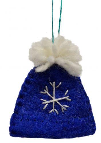 Felt - Christmas Decoration - Bobble Hat - Blue