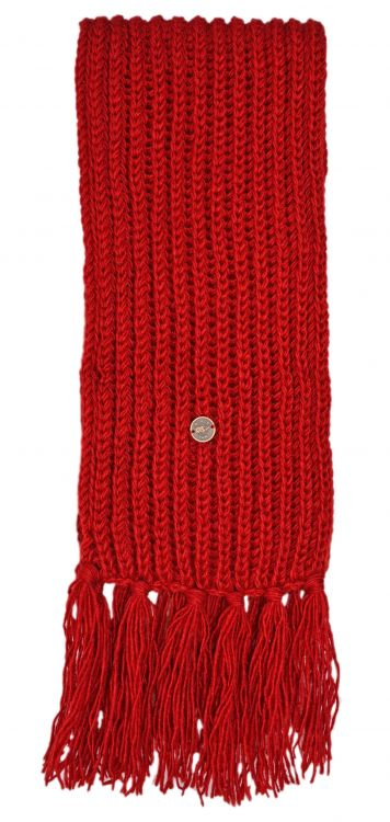Long hand knit - fringed scarf - deep red