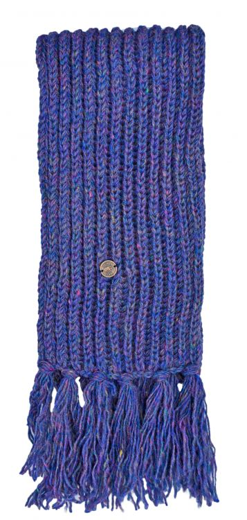 Pure wool - hand knit - heather mix scarf - blue
