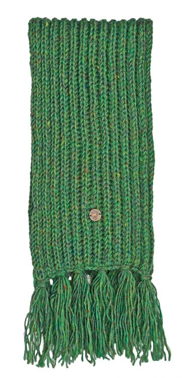 Pure wool - hand knit - heather mix scarf - green