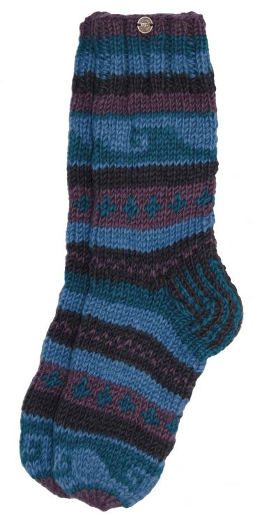 Pure wool - hand knit socks - Berry/blue/smoke patterned