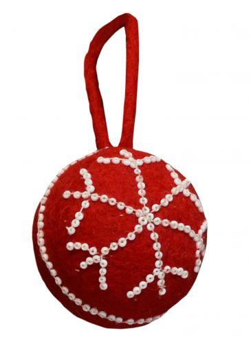Felt - Beaded - Christmas Bauble - Red