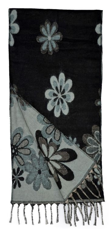 Wool mix - woven scarf - floral - black