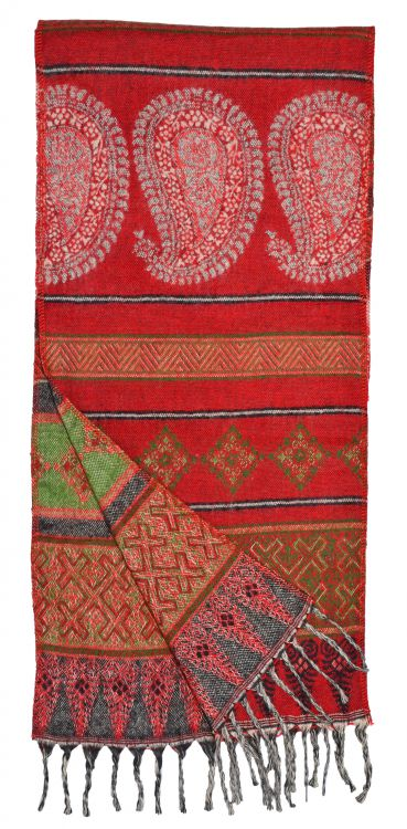 Wool mix - woven scarf - paisley - red