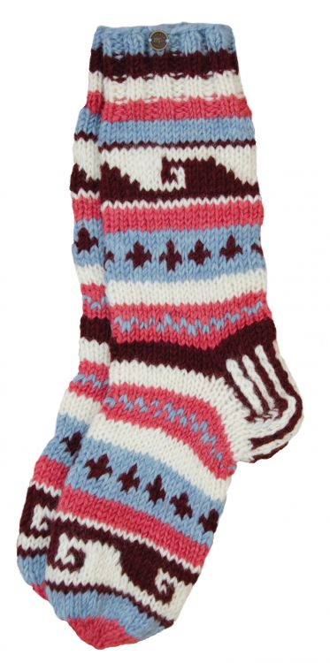 Pure wool - hand knit socks -  Blush/blue patterned