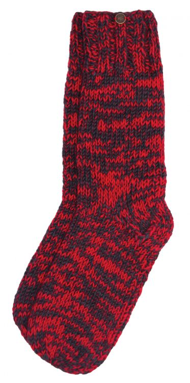 hand knit socks - red/smoke two tone