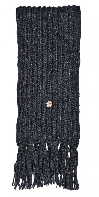 Long hand knit - fringed scarf - charcoal