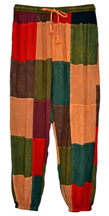 Large square - patchwork harem - autumn multicolours