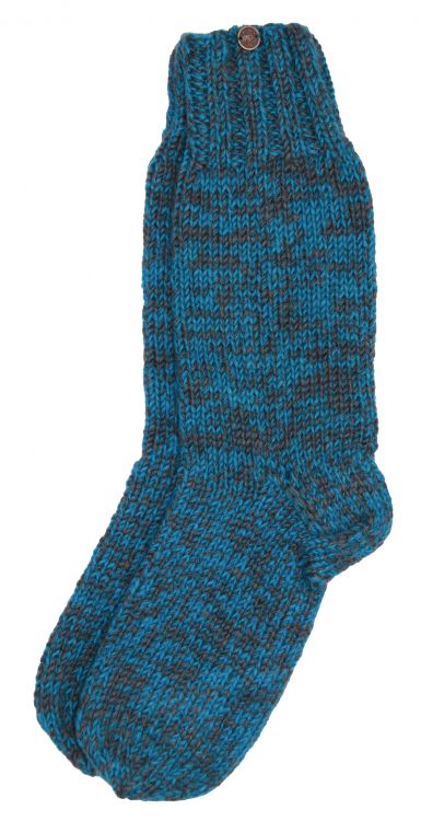 Pure wool - hand knit socks - ocean/grey two tone