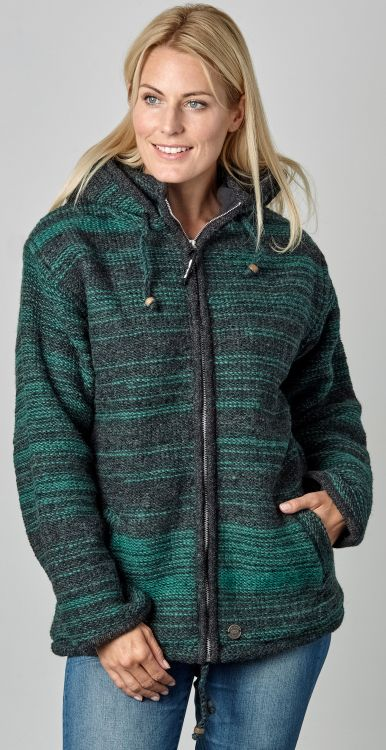 detachable hood - two tone random stripe - green/charcoal