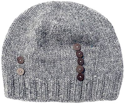 Half fleece lined - hand knit - button beanie - Grey