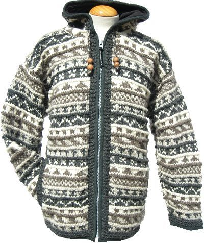 Fleece lined - patterned hooded jacket - Grey/Natural