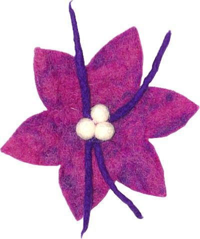 Large Poinsettia hair brooch - purple
