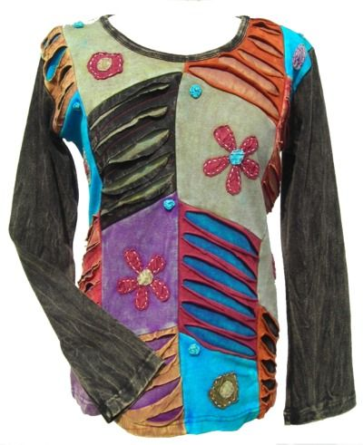 'Cut' and Applique Flower - Patchwork Top - Black