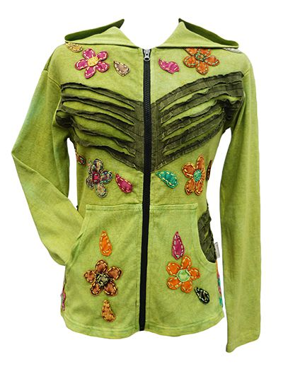 ***SALE*** - 'Cut' and applique flower - hooded jacket - green