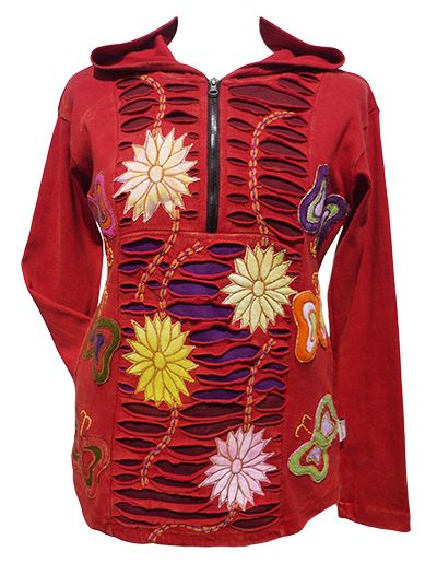 Flower and Butterfly Hooded Pull On - Red