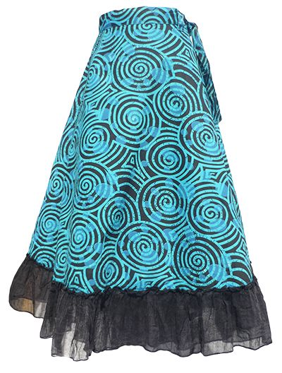 Swirl Pattern - Wrapover Skirt - Sky Blue